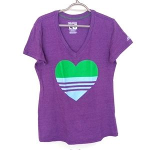 Adidas Climalite Feel Good T-Shirt V-Neck Heart